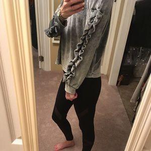 Tops - Silver gray velour ruffle sleeve sweatshirt